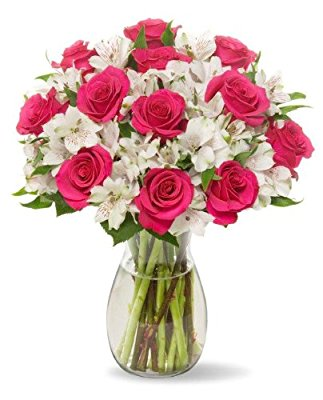 Benchmark Bouquets Signature Roses and Alstroemeria, With Vase