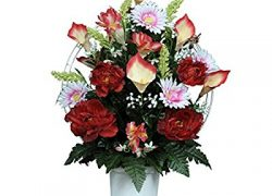 Red Peonies with Calla Lilies and Daisies Silk Flower Basket
