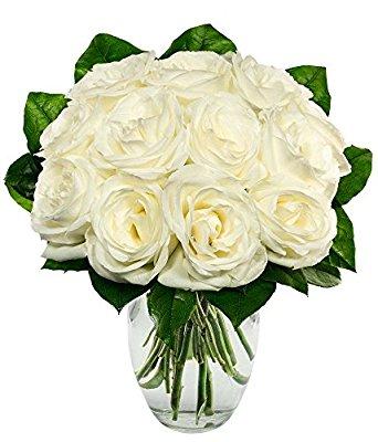 One Dozen White Roses Free Vase Little Flower Cottage